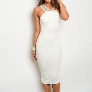 Dresses & Skirts - Embellished Midi Halter Bodycon Dress